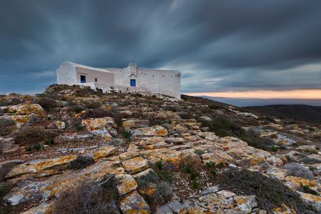 Monastery at Kastro village on Sikinos island in Greece.