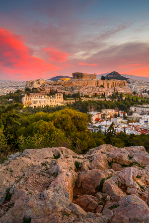 View of Acropolis from Filopappou hill at sunrise, Greece. Stok Fotoğraf