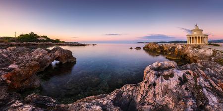 Morning at the Lighthouse of Saint Theodoroi near the town of Argostoli on Kefalonia island in Greece. Stock Photo