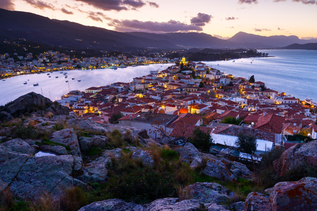 View of Poros island and Galatas village in Peloponnese, Greece.