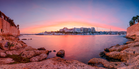 Evening view of Zea Marina in Athens, Greece. Stock Photo