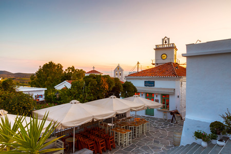 Messaria, Greece - May 23, 2017: Sunset in Chora village of Kythnos island in Greece.