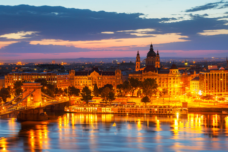 Budapest, Hungary - August 04, 2017: Morning view of city centre of Budapest over the river Danube, Hungary.