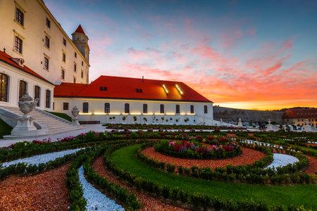 Bratislava, Slovakia - August 12, 2017: Reconstructed historical baroque garden in Bratislava castle complex, Slovakia.