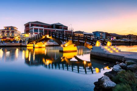 Lefkada, Greece - October 1, 2017: Foot bridge in the harbour of Lefkada town, Greece.