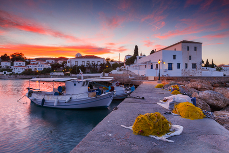Spetses, Greece - January 19, 2018: Traditional fishing boats in the harbour of Spetses, Greece.