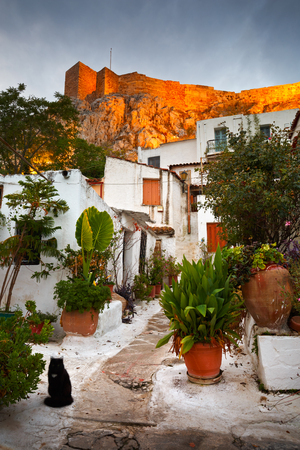 Acropolis as seen from the streets of Anafiotika, Athens, Greece. Imagens