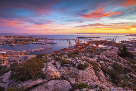 View of Piraeus harbour in Athens from the foothills of Aegaleo mountains. Stock Photo