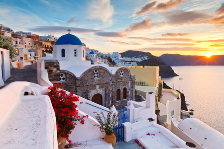 View of Oia village on Santorini island in Greece.