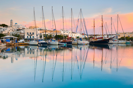 Adamantas, Greece - October 08 2015: Adamantas village and its seafront early in the morning.