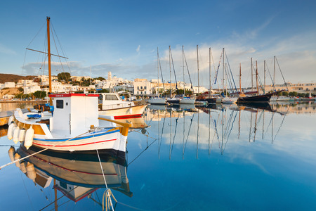Adamantas, Greece - October 08 2015: Adamantas harbour and seafront early in the morning.