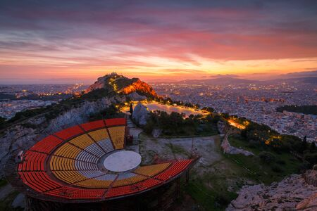 View of Lycabettus hill and Athens at sunset, Greece.