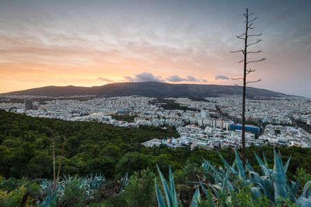Morning view of Athens from Lycabettus hill, Greece.