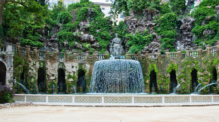 italian fountain: ancient magnificent italian fountain with a statue