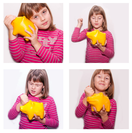dosh: Teen girl with yellow pig monebox  isolated set Stock Photo
