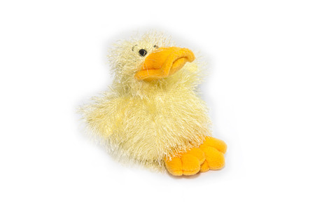 Yellow fluffy plush duck toy