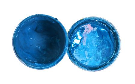 gouache: gouache paint in bottle blue isolated white Stock Photo