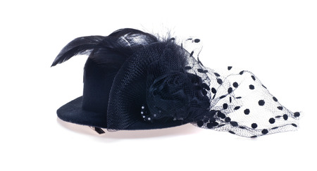 barrette: Black barrette in a hat with a veil isolated Stock Photo