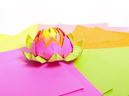 The Figure Of Origami Lotus Flower On The Leaves Of Colored Paper