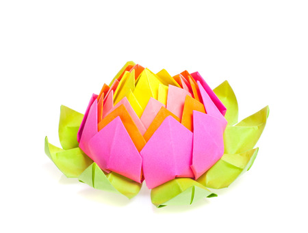 The Figure Of Origami Lotus Flower Isolated White Stock Photo