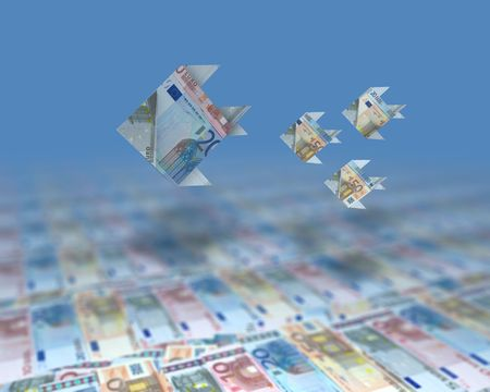 a small swarm of Euro Fish swimming in an ocean of money photo