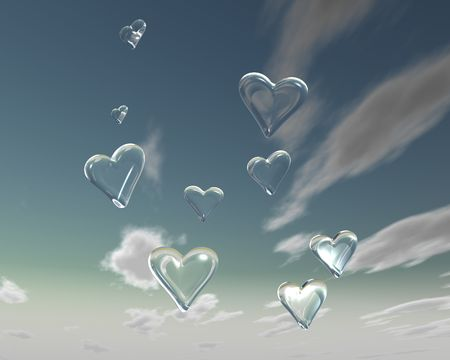 seduction: a rendition with fragile glass hearts flying towards the sky Stock Photo