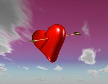 eros: Amors arrow piercing a heart with a pink sky