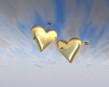 seduction: Two hearts of gold pierced by arrows floating in the air