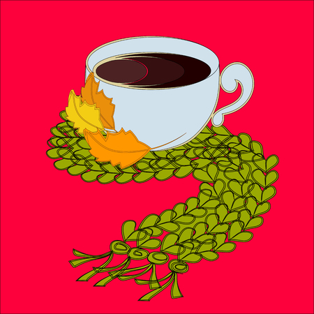 valenki: Cup of coffee and green scarf with autumn leaves Illustration