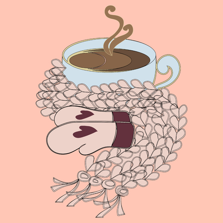 mittens: Cup of cocoa and pink scarf with mittens Illustration