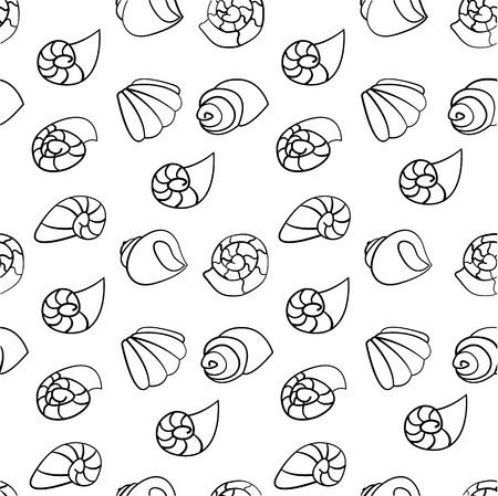 cephalopod: Shell seamless vector on the white background Illustration