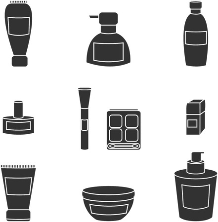 human face: Women cosmetic object vector isolated black icons