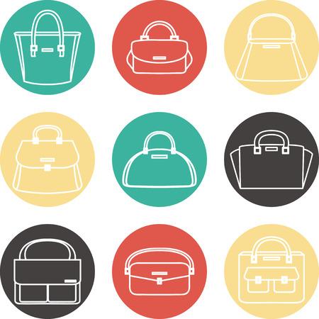 handbags: Set of colorful female handbags illustration icons