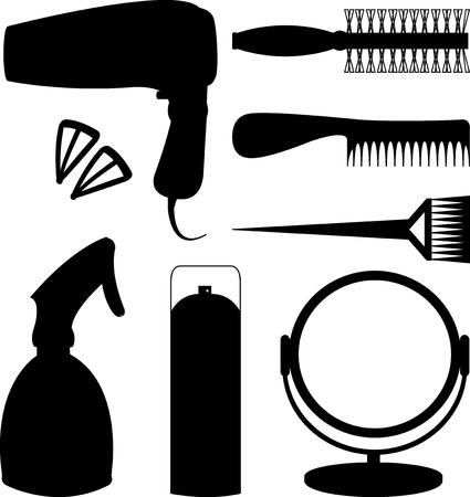 hair accessories: Hair accessories and barber tools black Illustration