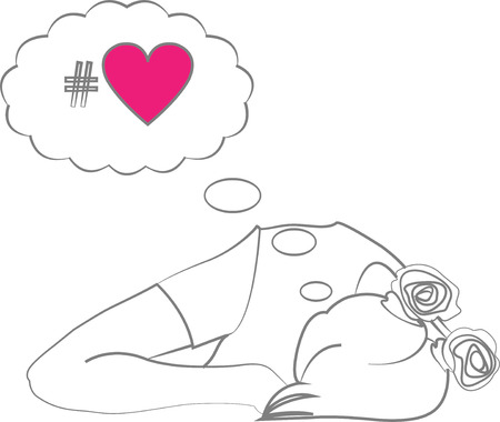 sexual health: Vector illustration of sleeping girl dreaming about love Illustration