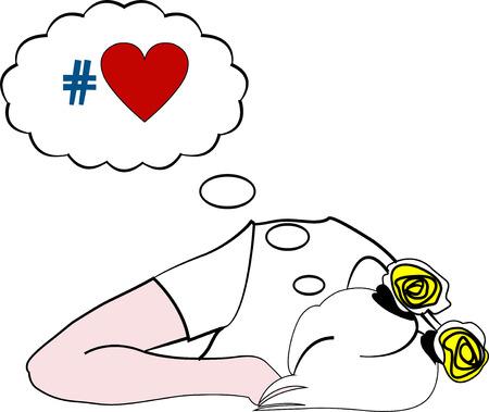 dreaming girl: Vector illustration of sleeping girl dreaming about love Illustration