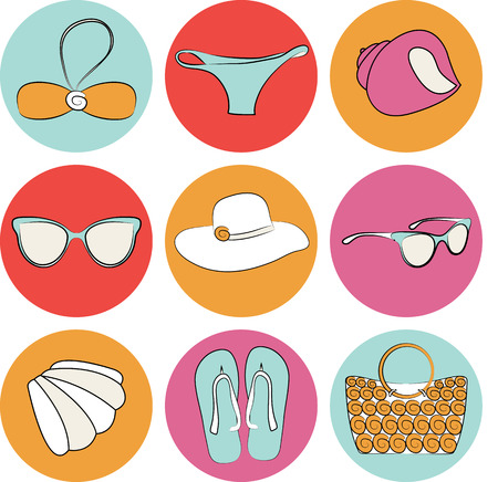 sunglasses recreation: Vector summer beach accessories icon set collection