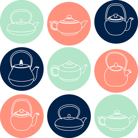 teapots: Vector collection of white silhouettes teapots icons