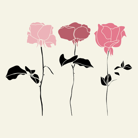 abstract rose: Vector set of pink and red roses illustraton Illustration