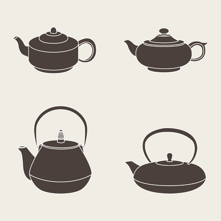 teapots: Vector set of isolated icon silhouette teapots Illustration