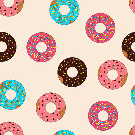 Vector pattern donuts with frosting and caramel topping