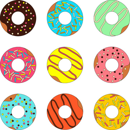 donut shop: Vector set of donut isolated on a white background Stock Photo