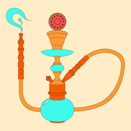 shisha: Hookah vector color illustration with fruit watermelon