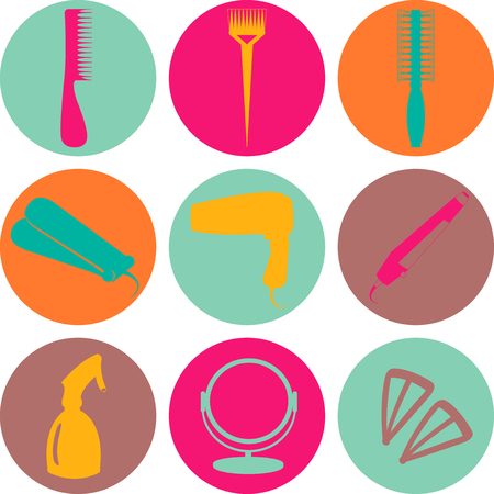 hair accessories: Hair accessories and barber tools color vector