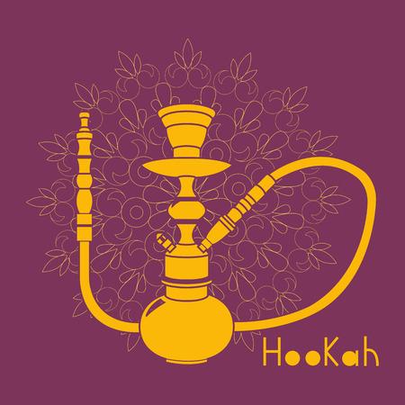 hooka: Purple hookah illustration isolated on ornament background Illustration