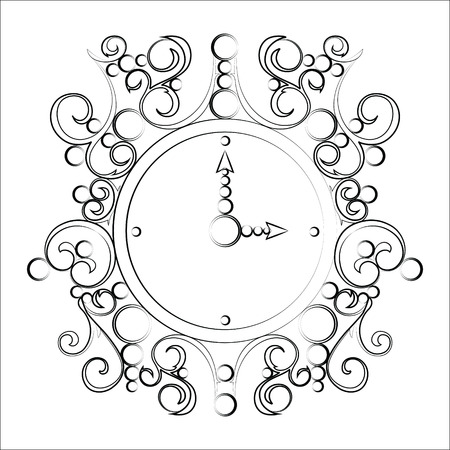 midday: Vector old illustration vintage clock on white background Illustration