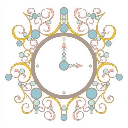 vintage clock: Vector old illustration vintage clock with pink and blue Illustration