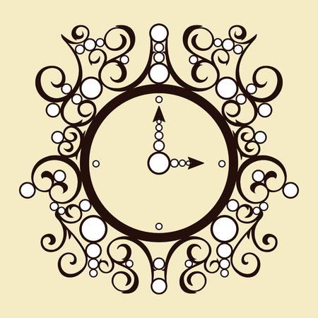 vespers: Vector old illustration vintage clock on beige background Illustration