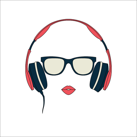 dub: Vector silhouette of colored girl with red headphones