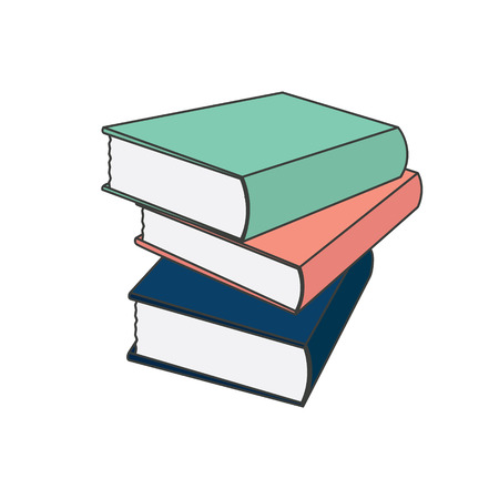 Books colored set in flat design style, vector illustration